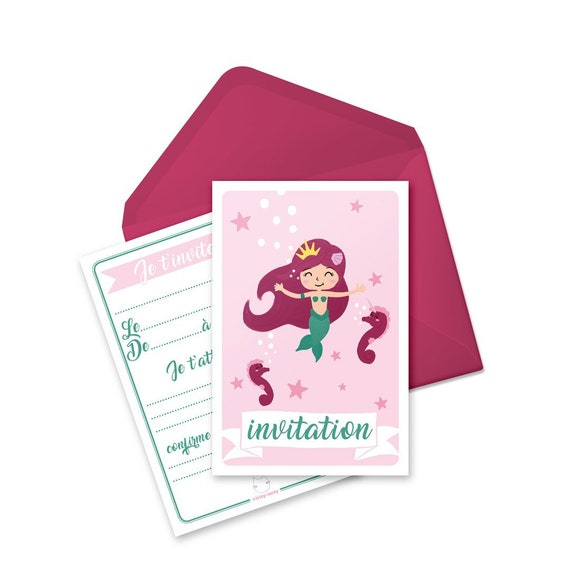 Birthday Invitation Cards Envelopes Per 6 Gaby Princess Mermaid In French