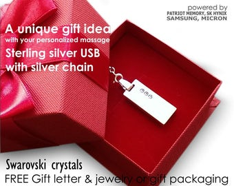 USB NecklacePersonalized 864GBSterling SilverSwarovskiGifts For Her Girlfriend GiftWife GiftBirthday Gifts HerBirthday Gift