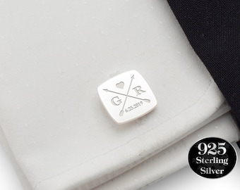 Custom Wedding Cufflinks Silver, Arrow cufflinks, Personalized Groomsmen cufflinks, Groom Cufflinks, Date, Initial, Groom Gift from Bride