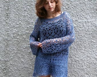 6c82d63425 Oversized boho beach tunic jumper Summer cotton long sweater pullover Loose  knit swimsuit cover up Openwork grunge sweater top MADE TO ORDER