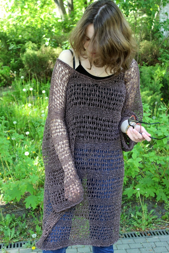 Loose Knit Oversize Mesh Sweater Dress Off Shoulder Coffee Etsy