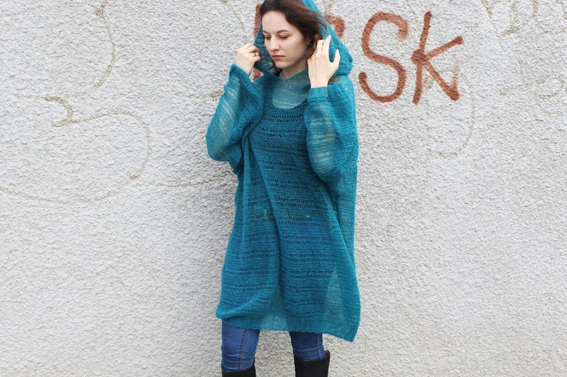 4068fdc19c704 Long mohair hooded sweater dress Loose knit turquoise