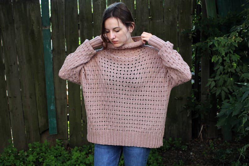 Oversized turtleneck sweater Hand knitted long sweater jumper  26ababf0e
