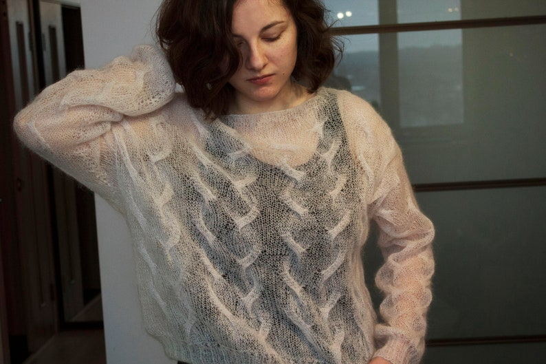 Boho Oversized Turtleneck Chunky Knit Sweater Cozy Sweater Long Sleeves