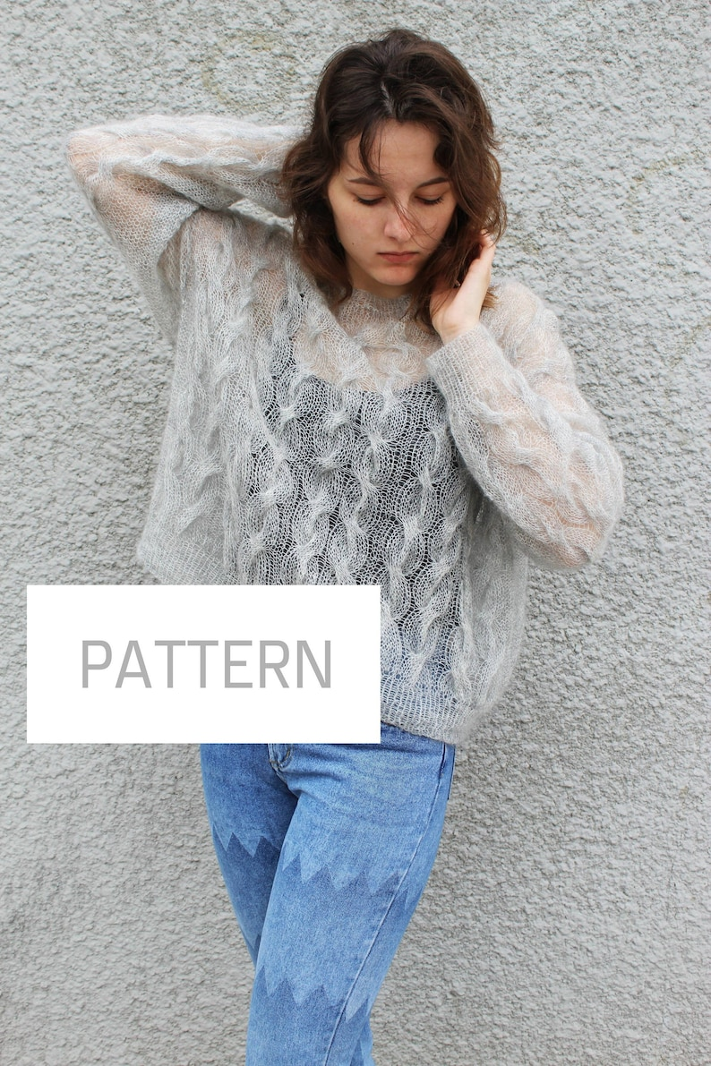 Mohair Sweater Knitting Patterns Printable Woman Oversized Etsy