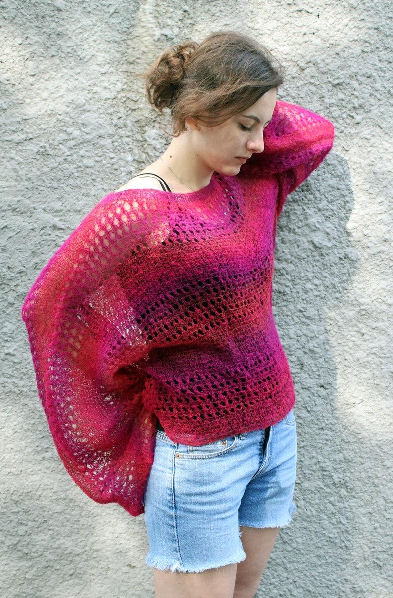 00db29e6f3 Burgundy mohair sweater crop kimono sleeves Loose knit