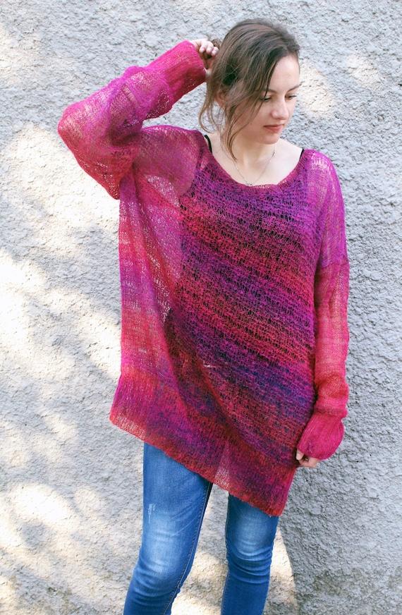 7fc46c42fb Oversized long mohair sweater dress Loose knit jumper plus