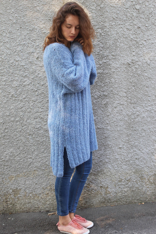 53e7b8b1d Loose knit long alpaca fuzzy pullover sweater Oversized maxi