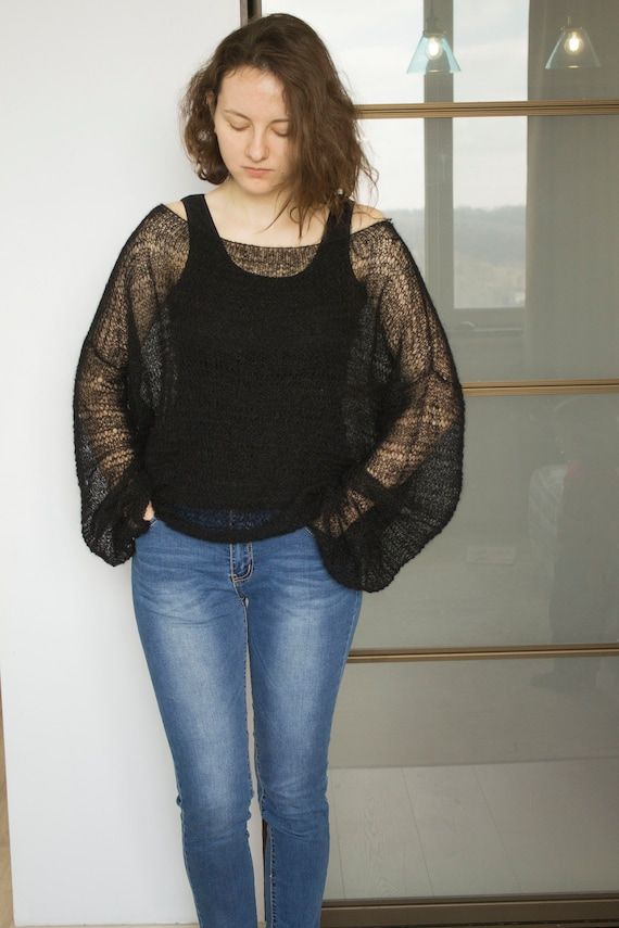Womens Rose jumper of Shoulder Bardot Top KnItted Mohair Sweater Ladies One Size