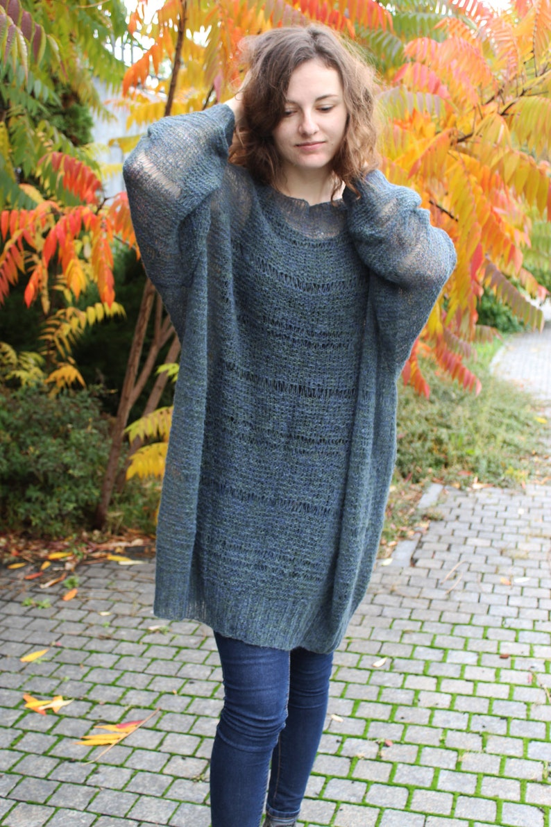 95961544a0b Long mohair sweater dress plus size Loose knit fuzzy pullover