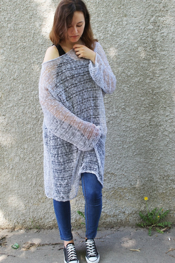 Loose Knit Beach Cover Up Distressed Mesh Sweater Dress Off Etsy