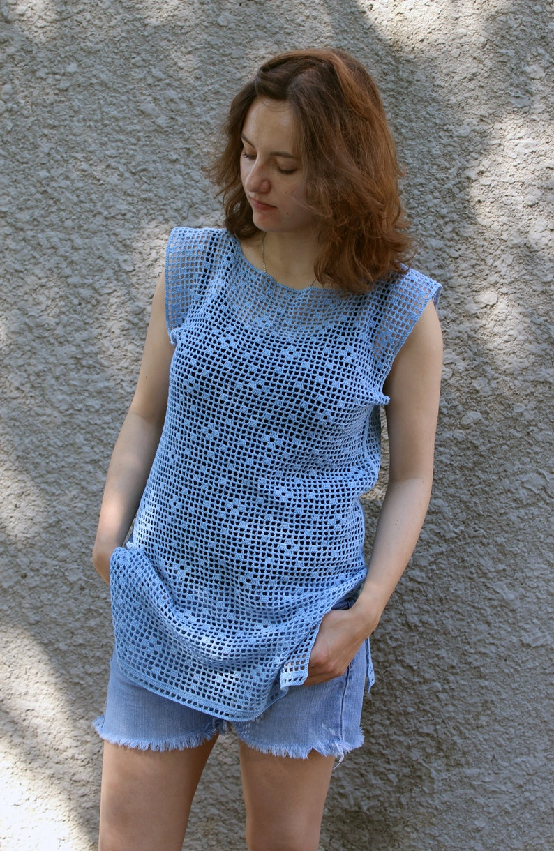 33c15136e70 Crochet filet fishnet top t shirt Loose knit mesh dress Blue