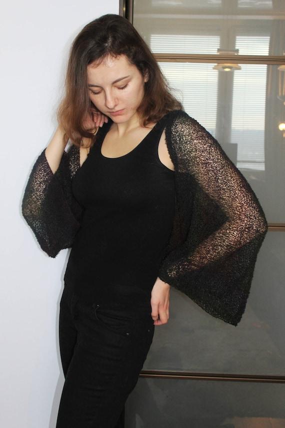 Elegant Cardigan Cropped Bolero Black Lace Long Sleeve For Evening Dress Wedding UK 10