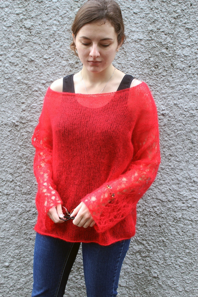 a735703f70d Oversized mohair sweater jumper with long lace sleeves off shoulder for  womens Fuzzy pullover Bohemian clothing Loose knit red sweater dress