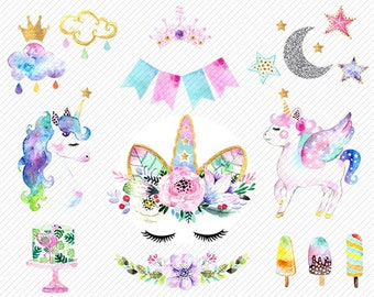 watercolor Unicorn Clipart. Unicorn Printable. Baby Shower Kids Party clipart. rainbow, clipart illustration.diy baby birthday invite.