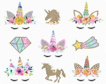 watercolor Unicorn Clipart. Unicorn Printable. Golden Unicorns Gold Glitter Unicorn . rainbow clipart, unicorn face. Glitter clipart.