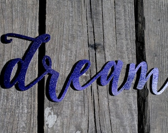 Sale! Dream Script Word Wood Sign, Dream Wood Sign, Laser Cut Wood Sign, Cursive Wood, Rustic Wall Sign Dream Personalized Wooden Words Sign