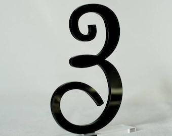 "3 1/2 "" Black Table Numbers, Wedding Table Numbers, Wedding Table Numbers Set, Wedding Table Decor, Mirror acrylic Table Numbers"