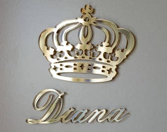 Princess Crown, Crown Prince, Royal Crown with Your Name, Personalized Crown, Royal Crown Wall Décor, Custom Hanging Signs, Wall Signs