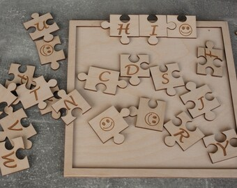 puzzles alphabet for children and parents, Wooden Puzzle, Alphabet puzzle, learning games