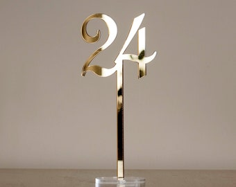 Two Sides Golden Mirror Acrylic Table Numbers, Wedding Table Numbers, Wedding Table Decor, Table Numbers