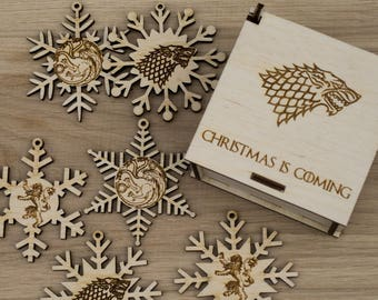 Wooden Snowflake Ornaments, House Stark christmas, Winter is Coming, Game of Thrones gift, GoT christmas gift,  Christmas snowflake ornament