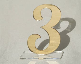 """3 1/2"""" Mirror acrylic Table Numbers, Wedding Table Numbers, Wedding Table Numbers Set, Wedding Table Decor, Table Numbers,"""