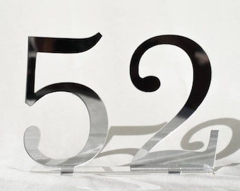 """5"""" mirror acrylic Table Numbers, Wedding Table Numbers, Wedding Table Numbers Set, Wedding Table Decor, Table Numbers"""