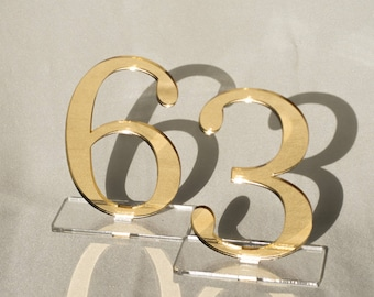 "3 1/2"" Mirror acrylic Table Numbers, Wedding Table Numbers, Wedding Table Numbers Set, Wedding Table Decor, Table Numbers"