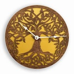 Golden Tree of Life, Sacred Geometry, Lagre Wall Clock, Unique clock, Modern Clock, Wooden Wall Clock, Unique gift clock