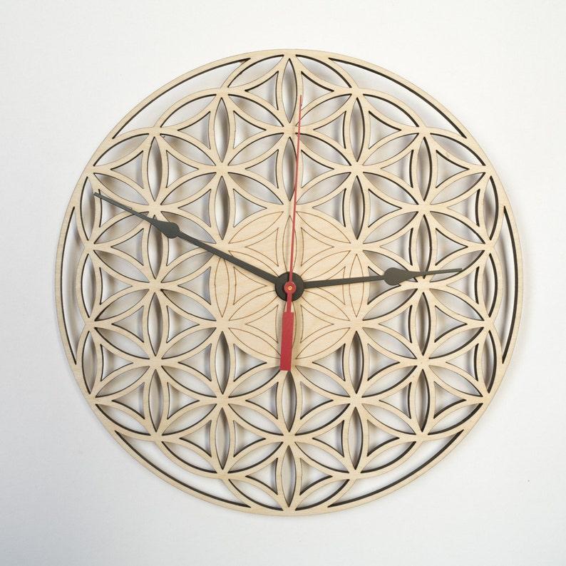 Wall Clock FLOWER OF LIFE Wooden Clock Wood clock Wooden image 0