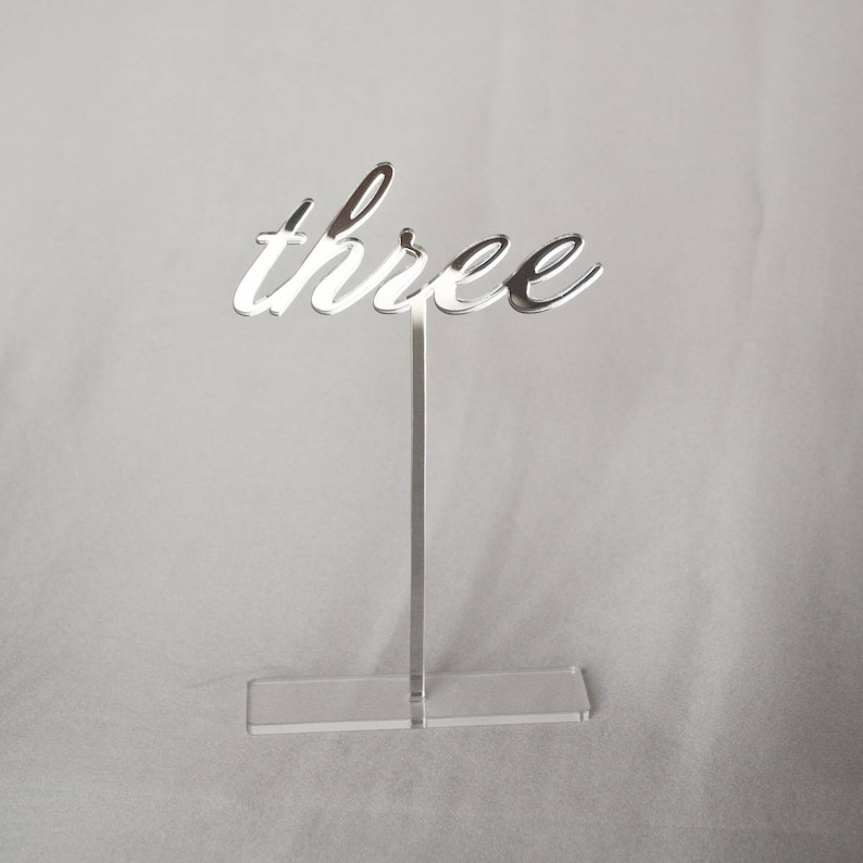 7 Mirror acrylic Table Numbers handwritten Table Silver mirror
