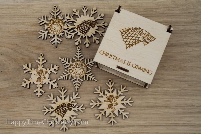 Christmas Gift Wooden Snowflake Ornaments House Stark image 0