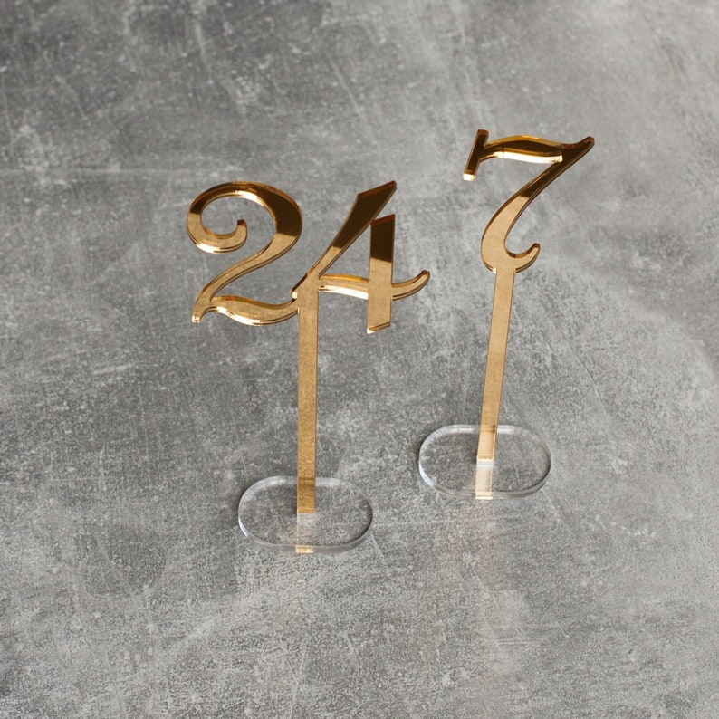 Two Sides Golden Mirror Acrylic Table Numbers Wedding Table image 0