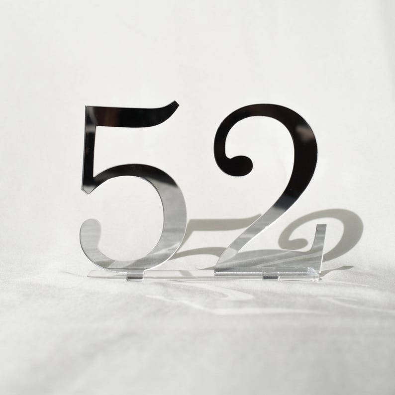 5 mirror acrylic Table Numbers Wedding Table Numbers image 0