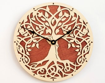 Christmas gift, Tree of Life, Sacred Geometry, Lagre Wall Clock, Unique clock, Modern Clock, Wooden Wall Clock, Golden Tree of Life
