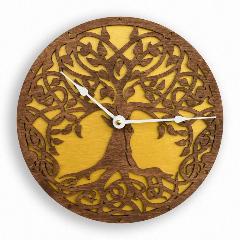 Golden Tree of Life Sacred Geometry Lagre Wall Clock Unique image 0