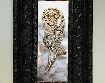 Framed Steel Rose - Bas Relief