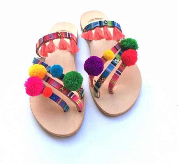b71c0d5a44788 Pom Pom Boho Sandals   Rainbow   Strappy