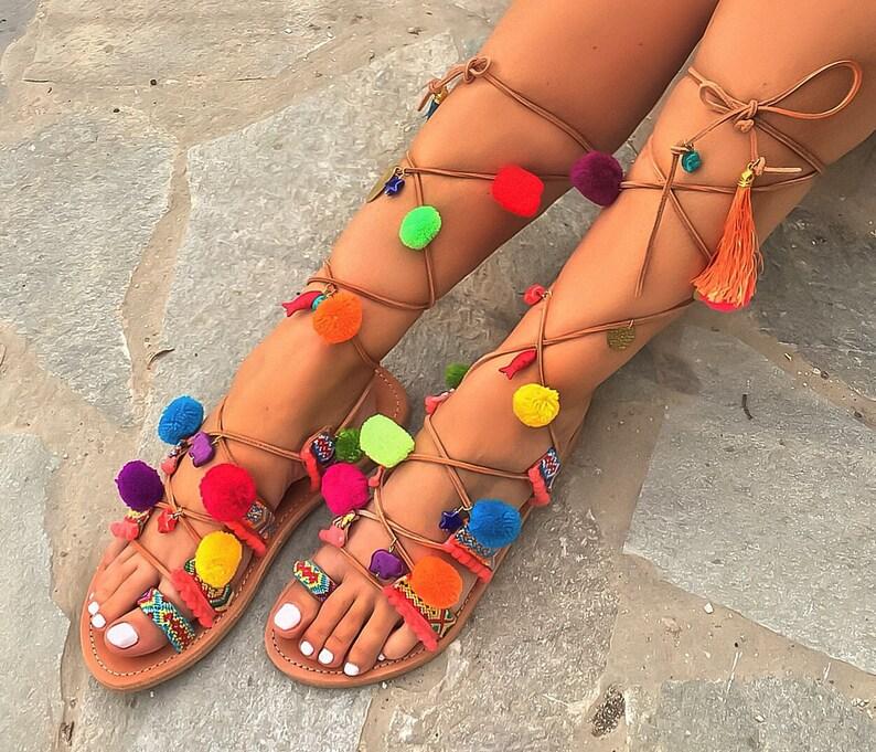 a6da15de6b137 Pom Pom Tie Up Sandals ''Nafsika'', Boho Gladiator Sandals,Genuine Leather  Lace Up Sandals, Greek Sandals, FREE Worldwide SHIPPING