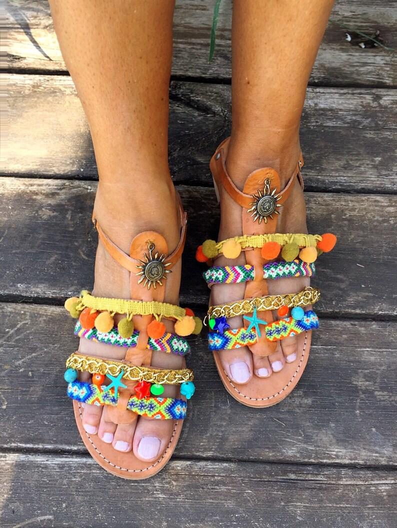 bdd1e74bb47e Pom Pom Leather Sandals Alexandra Handmade