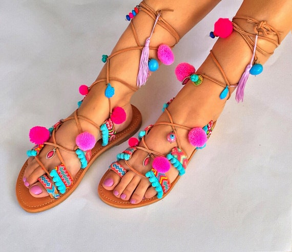 EXPRESS Gladiator Up Tie Pom Sandals Lace FREE Boho Pom sandals SHIPPING Sandals Up Worldwide Sandals ''Lollipop'' qvOtS0