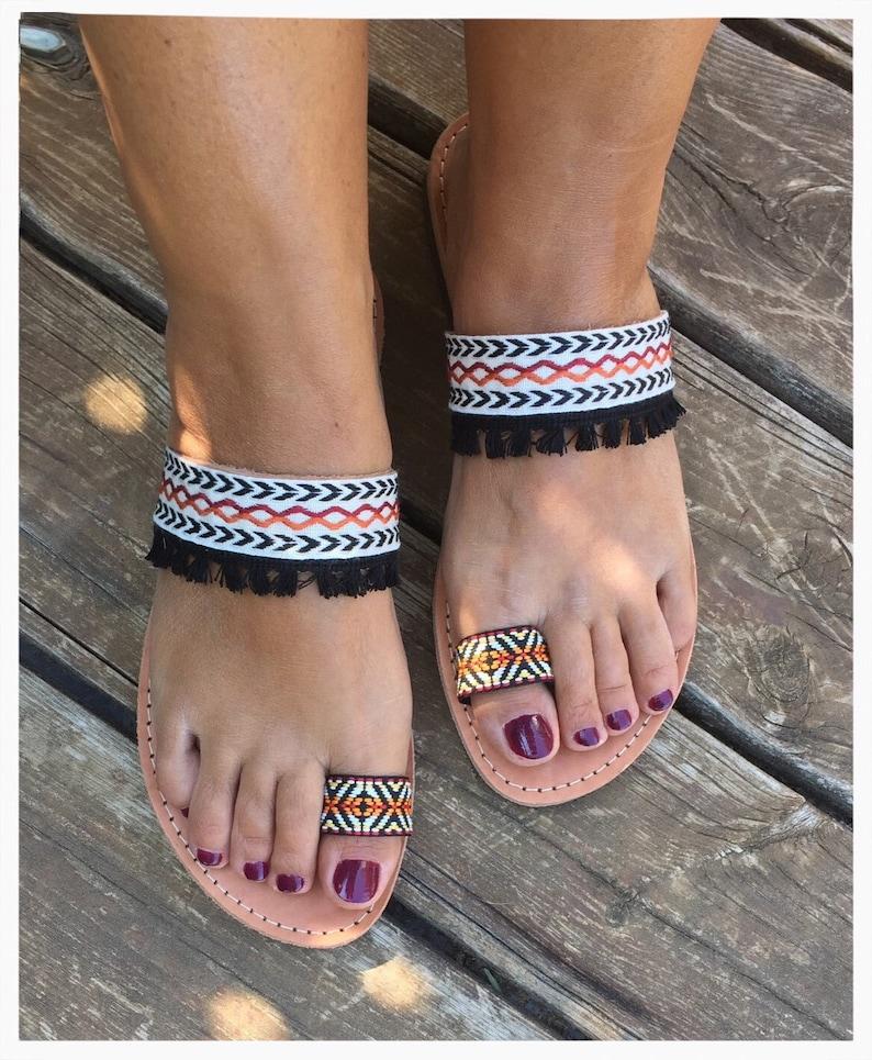 Ethnic Sandals Handmade Boho Sandals Strappy Sandals Greek Leather Sandals