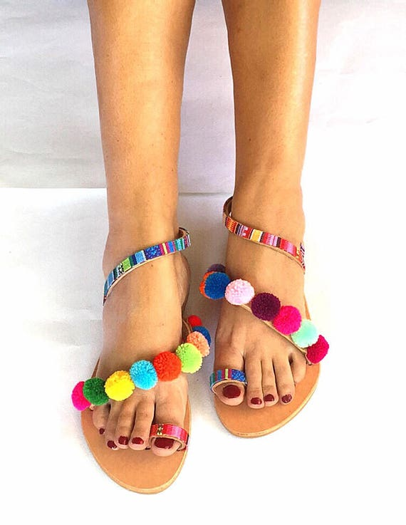 Bohemian Pom FREE Strappy Sandals Worldwide Sandals SHIPPING