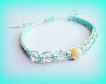 Kids macrame bracelet green girl water pearls Swarovski Unique