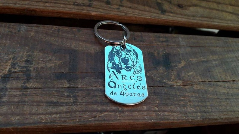 Custom pet identifier engraved with photo on stainless steel