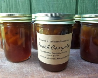 Peach Compote, 8 ounce, Hand-Crafted Jam, Sauce, Half Pint Syrup, Peach Syrup, Fruit Syrup
