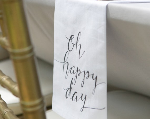 """CUSTOM CALLIGRAPHY Napkins - """"Best Day Ever"""" / Wording of Your Choice - 16x16 Napkins / Featured in Summer 2016 Weddings With Style Mag."""