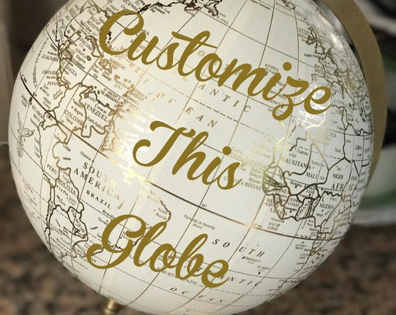 Custom Wedding Guestbook Globe / White and Gold Calligraphy Globe / Choose Custom Wording / Guestbook Globe/ Nursery Globe/ Custom Globe