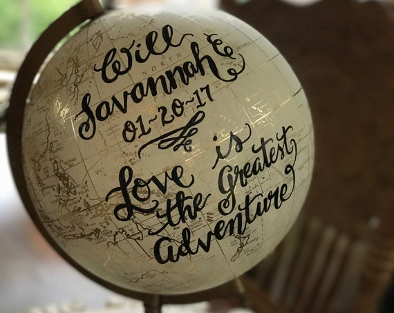 Custom Wedding Guestbook Globe / Choice of Wording / White and Gold Calligraphy Globe or Black Globe / Custom Calligraphy / Guestbook Globe